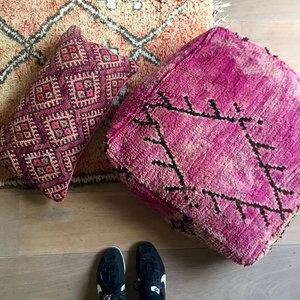 Grote vierkante Boujaad Poef berber 60x60x20cm